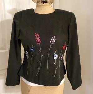 Positive Attitude velvet top w/embroidered flowers